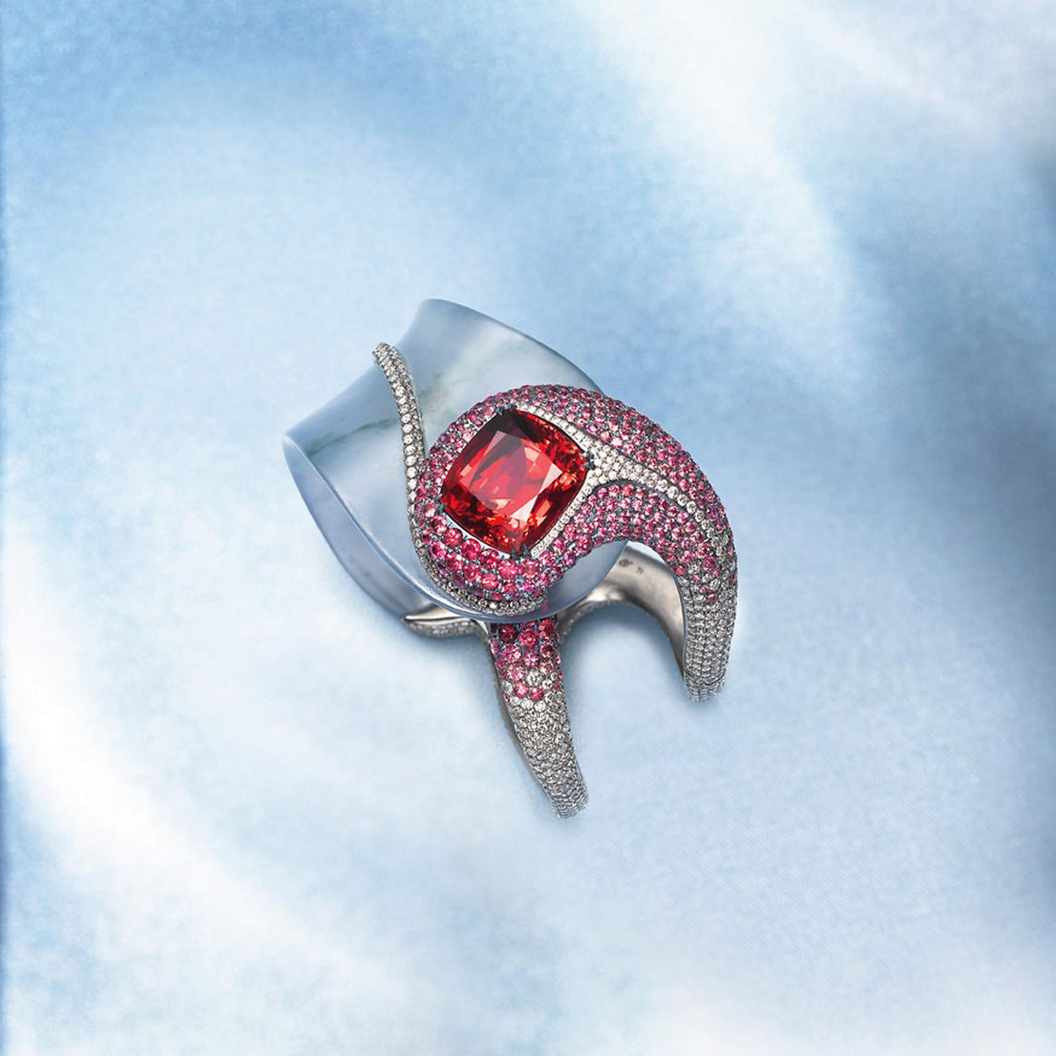 Edmond Chin red spinel, glass jadeite, red and pink spinel and platinum cuff
