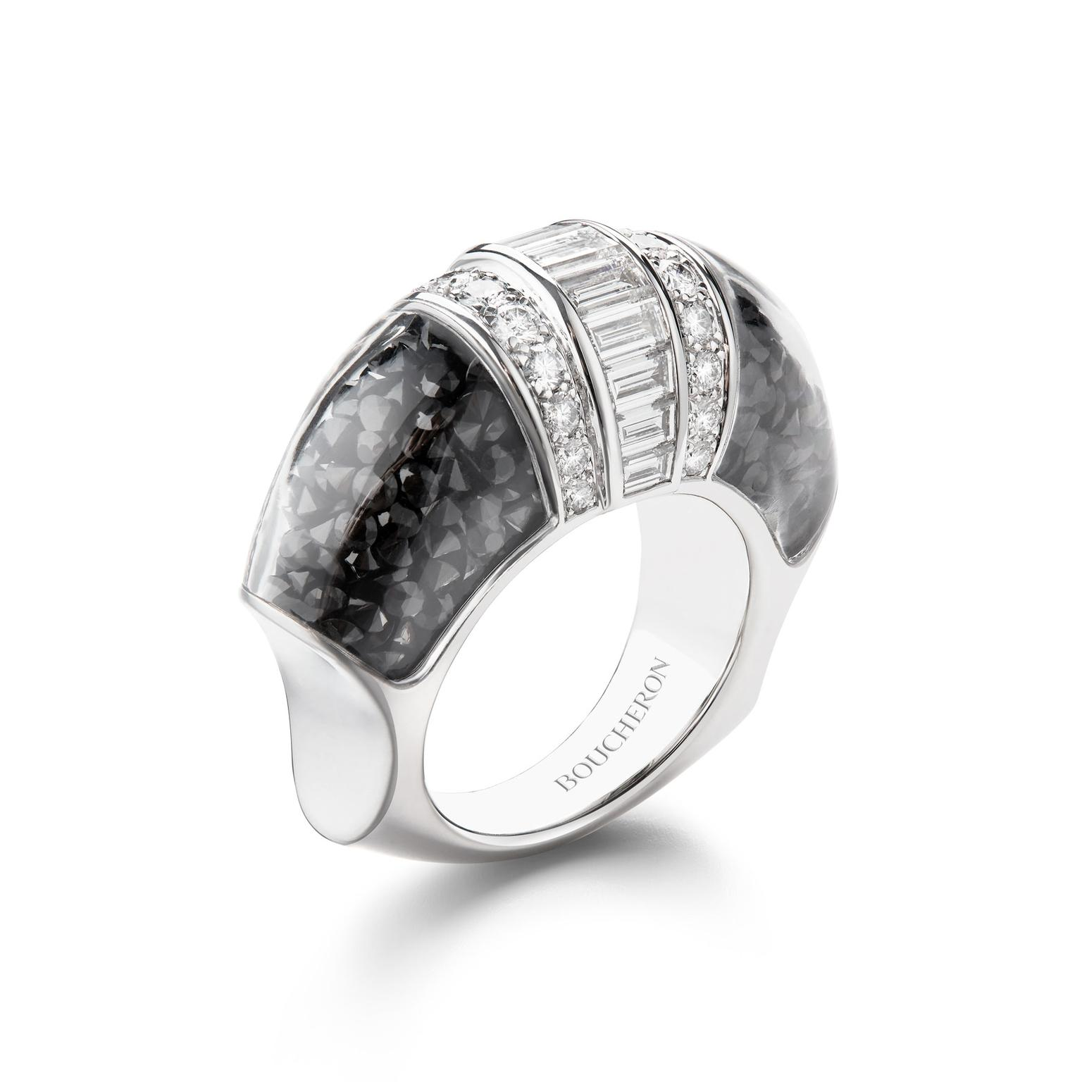 Boucheron Hiver Imperial Grand Nord ring with black spinels
