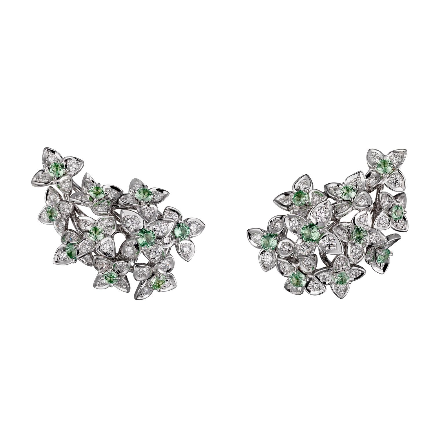 Cartier Magicien Mandragore diamond earrings with tsavorite garnets