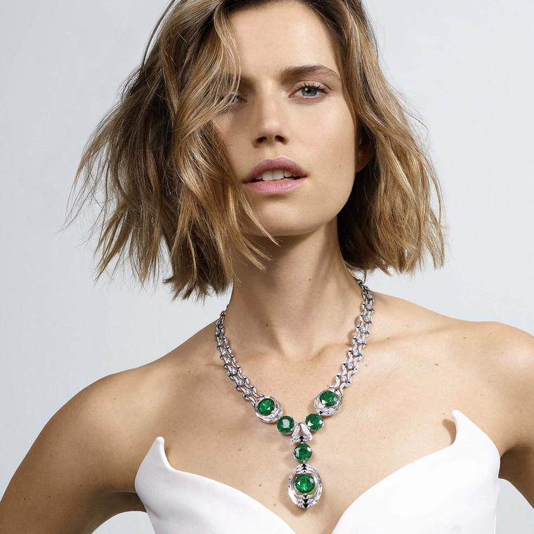 Cartier Magnitude Theia emerald necklace on model