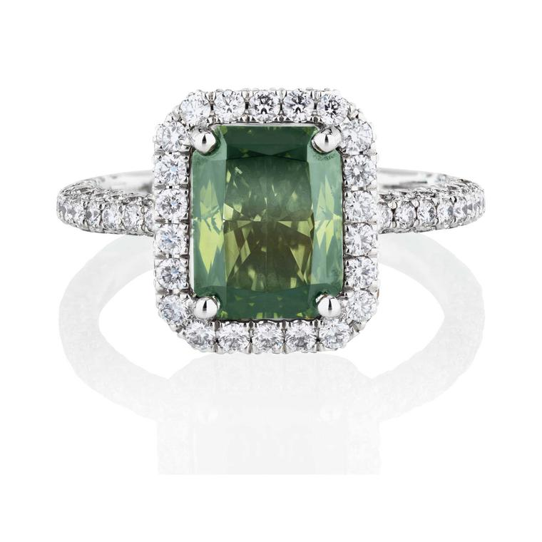 De Beers Aura Fancy Dark yellowish green emerald-cut solitaire ring