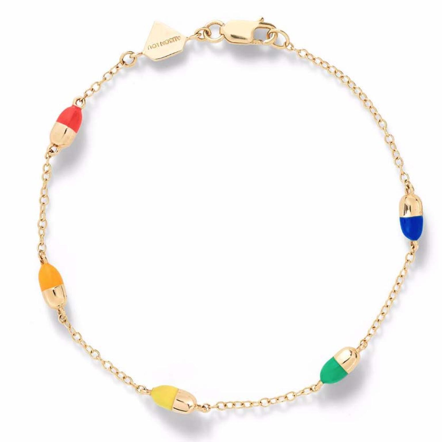 Alison Lou gold and coloured enamel Pill by the Yard bracelet