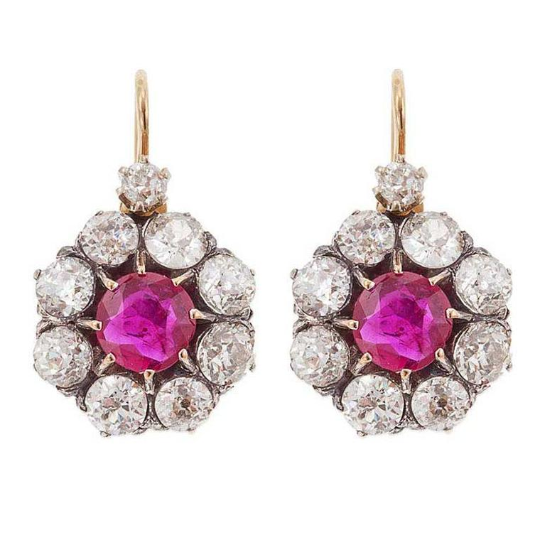 Sheila Goldfinger ruby cluster Victorian earrings with diamonds