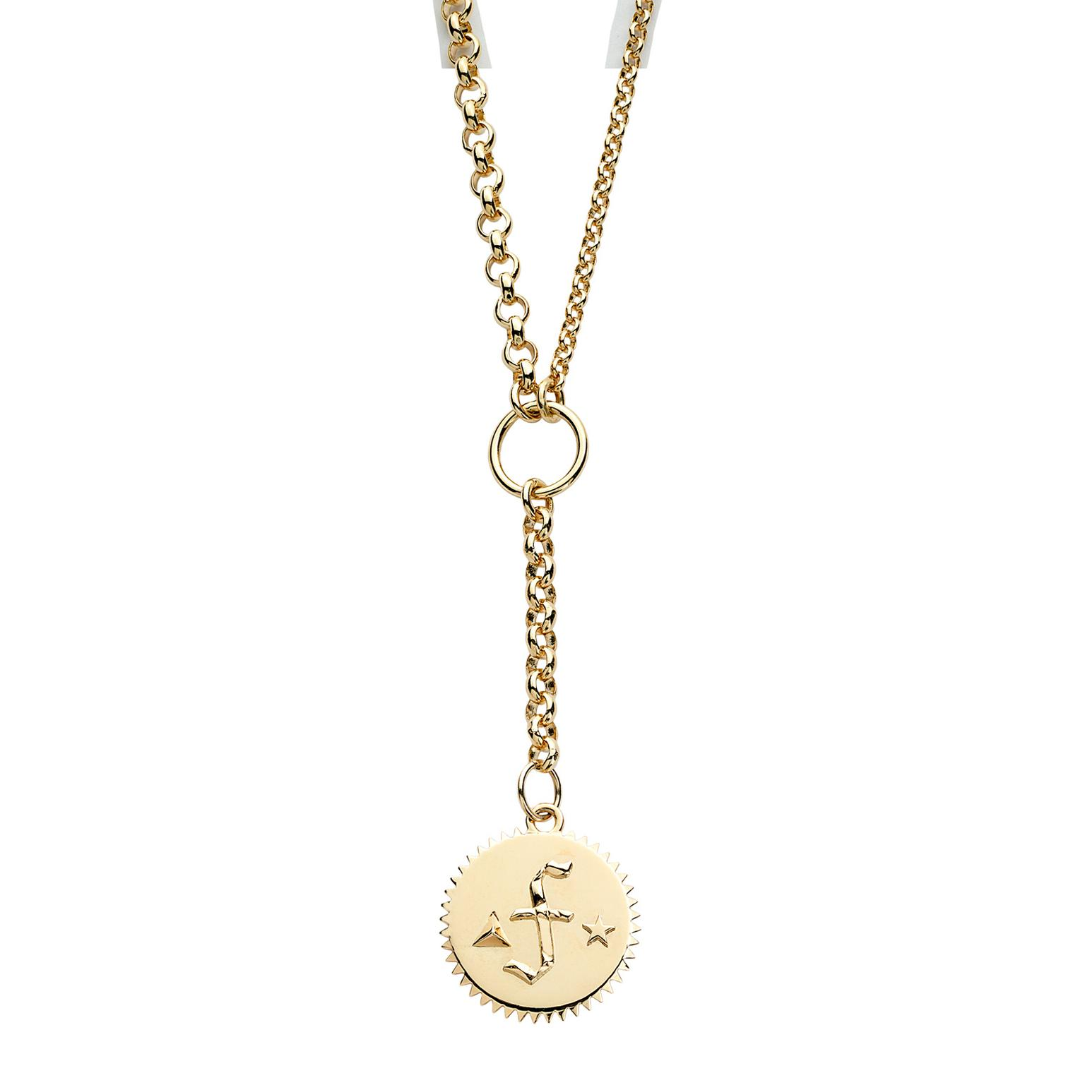 "Foundrae alphabet mama medallion on 18"" y necklace"
