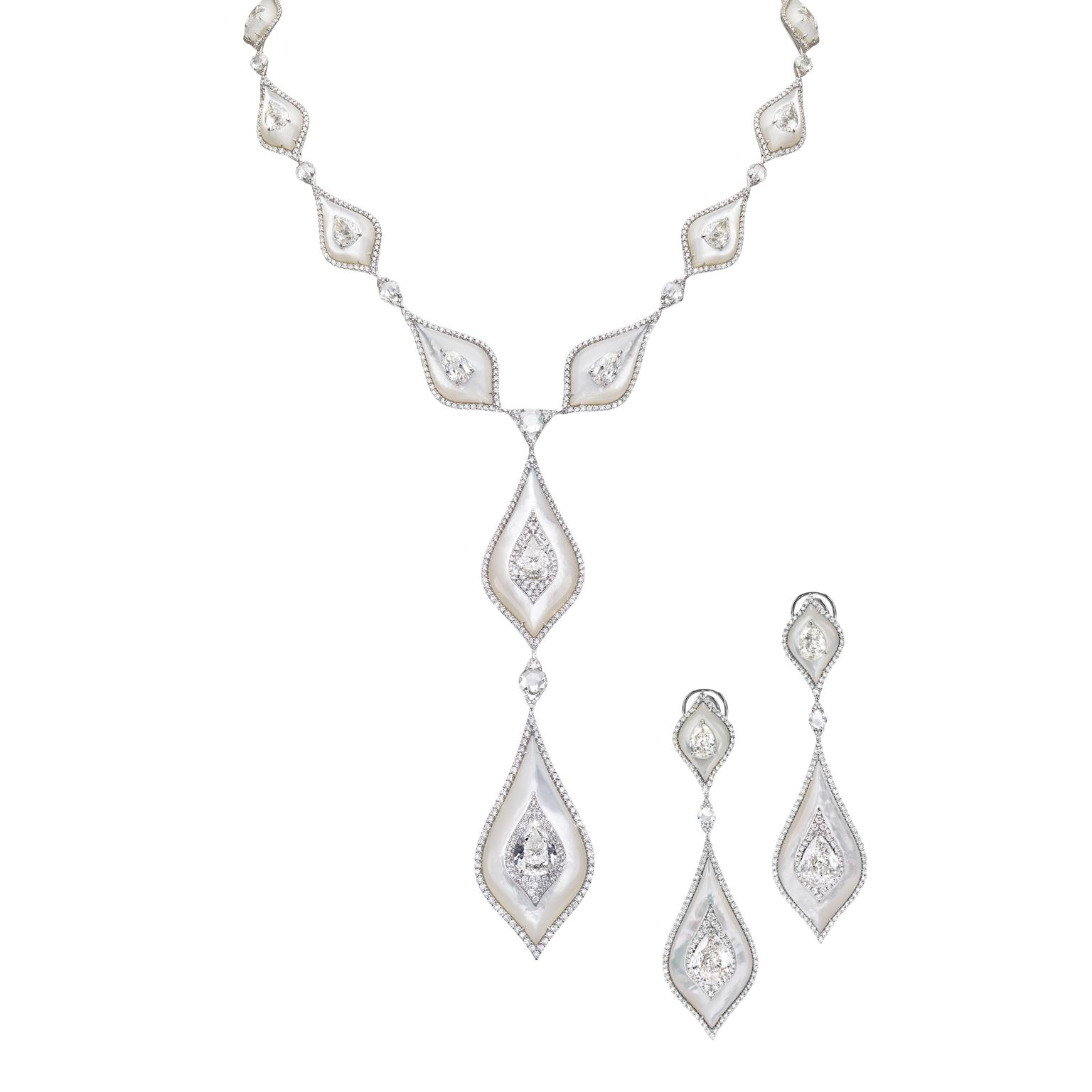 Boghossian diamond and pearl necklace and earrings