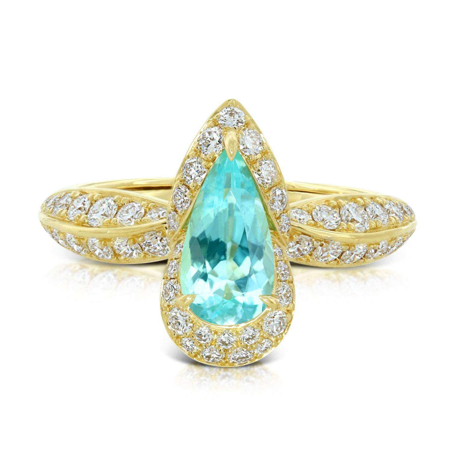 Kat Florence pear shaped Brazilian Paraiba tourmaline ring