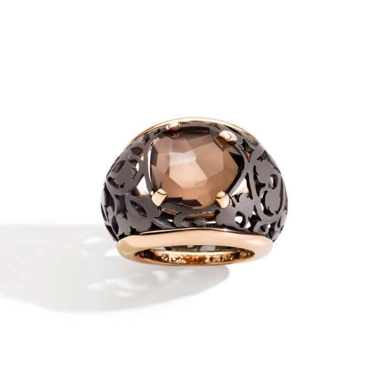 Pomellato titanium and rose gold Arabesque Noir ring