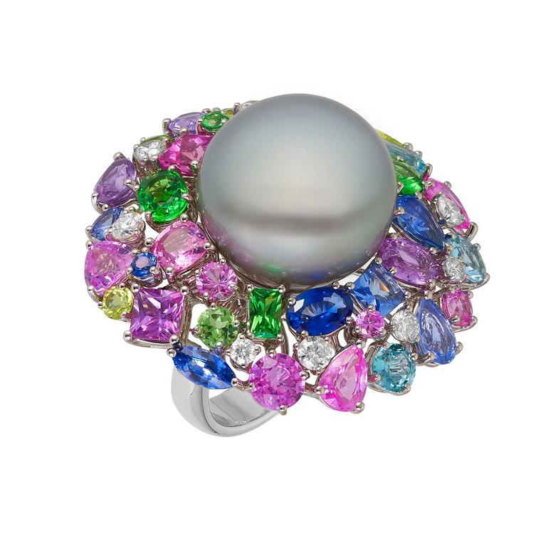 Margot McKinney Hibiscus Tahitian pearl cocktail ring with multi-coloured gemstones and diamonds