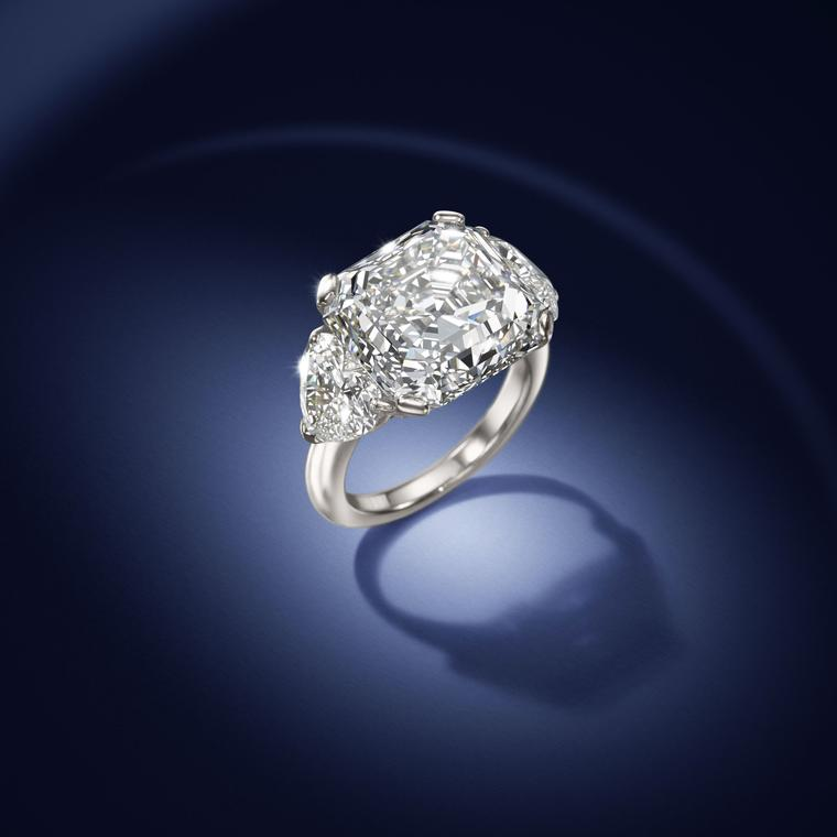 David Morrris Asscher-cut diamond ring