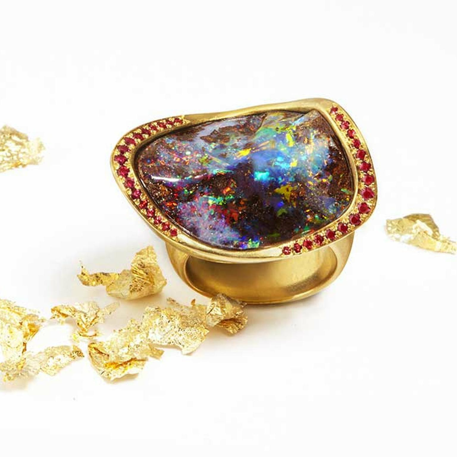 Katherine Jetter Marquis Boulder opal ring in gold with pavé rubies.
