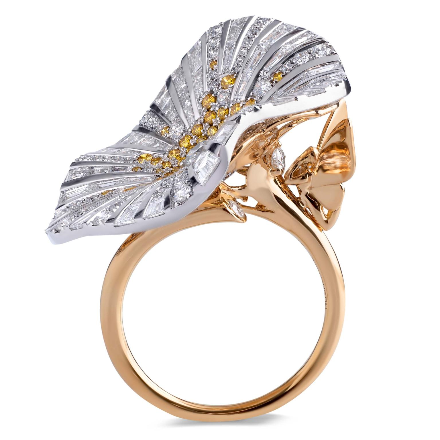 Stenzhorn Belle yellow diamond and white diamond ring