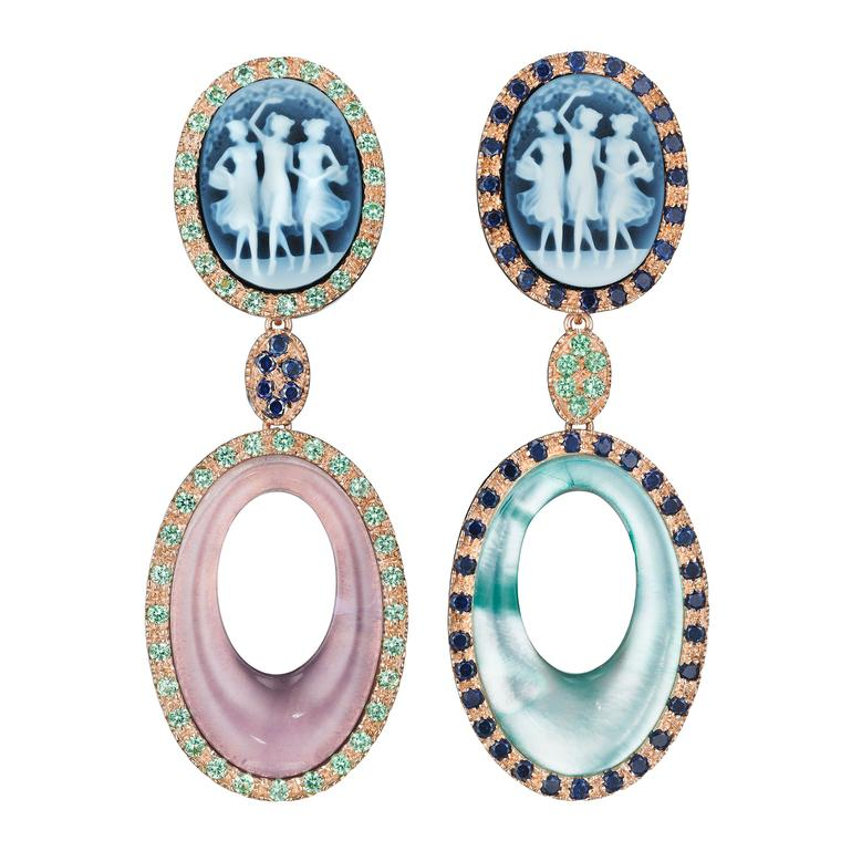 Amedeo Couture Muse Cameo earrings