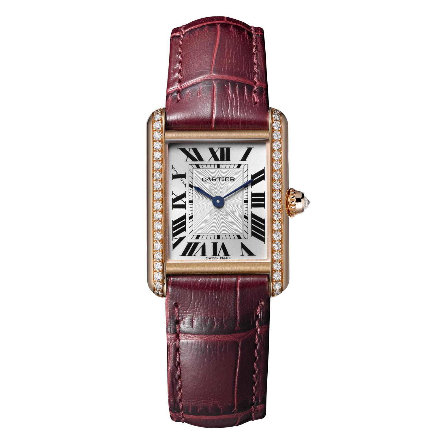 Cartier Tank Louis Cartier small pink gold watch with diamonds