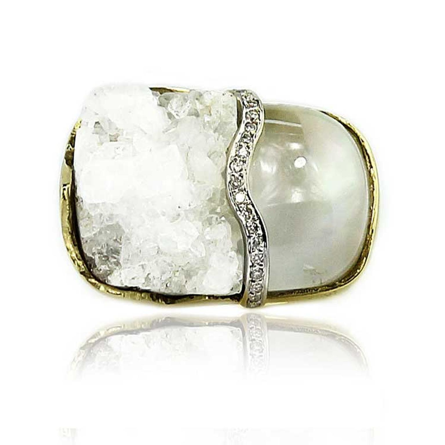 Kara Ross Petra Split ring with raw white quartz and smooth rock crystal front view
