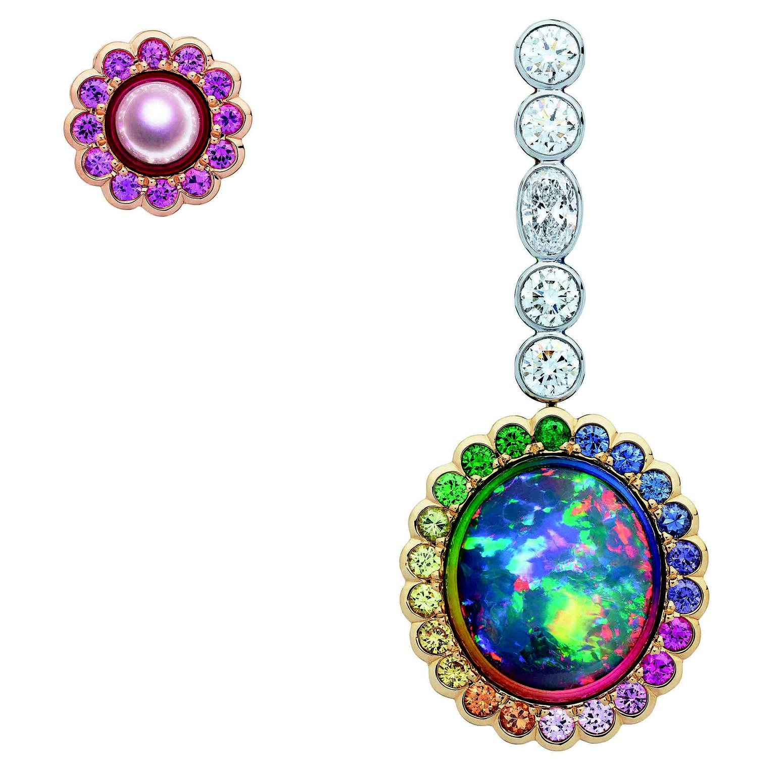 Mismatched Dior et Moi black opal and pink pearl earrings