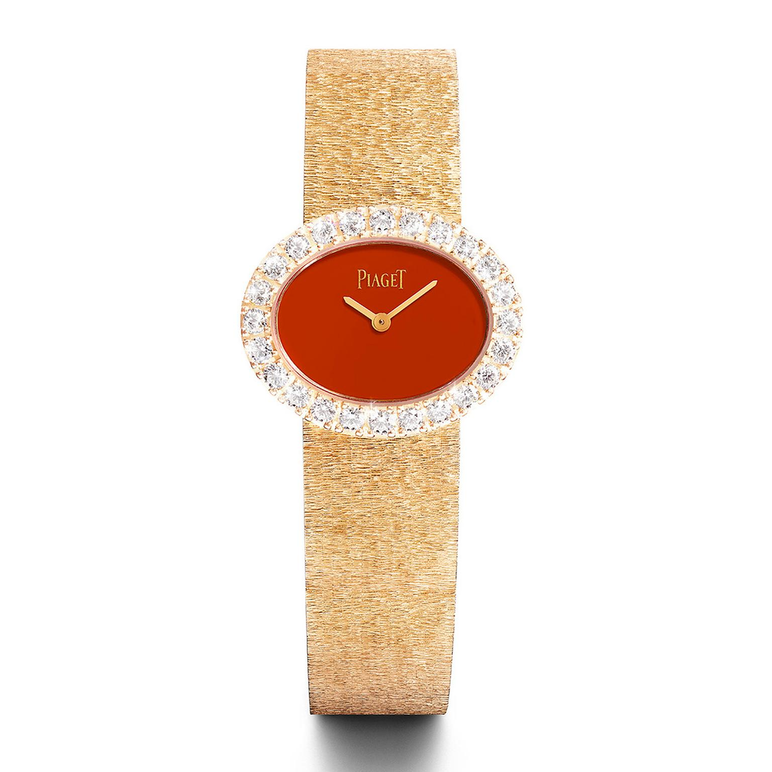 Piaget gold and diamond watch with red cornelian dial