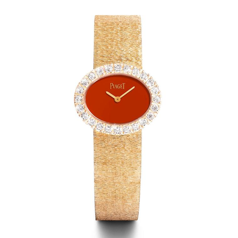 Rose gold and diamond watch with cornelian dial