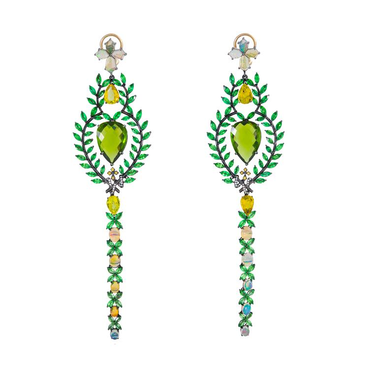 Queen of Sheba peridot earrings with multi-coloured gemstones