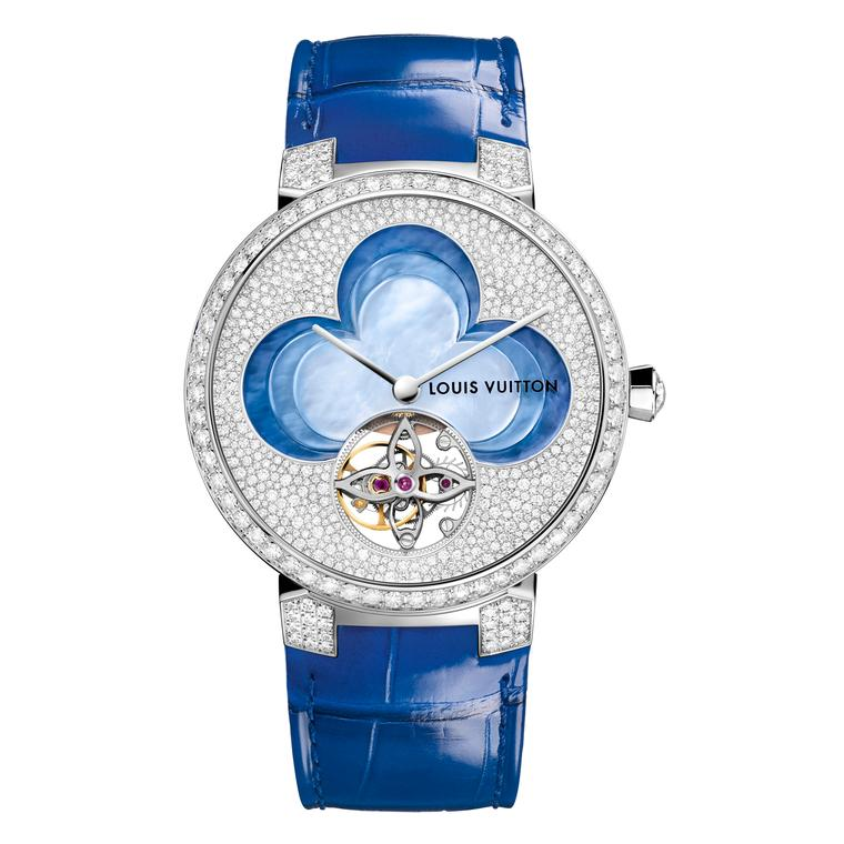 Louis Vuitton Blossom collection Tambour Monogram Tourbillon watch in blue