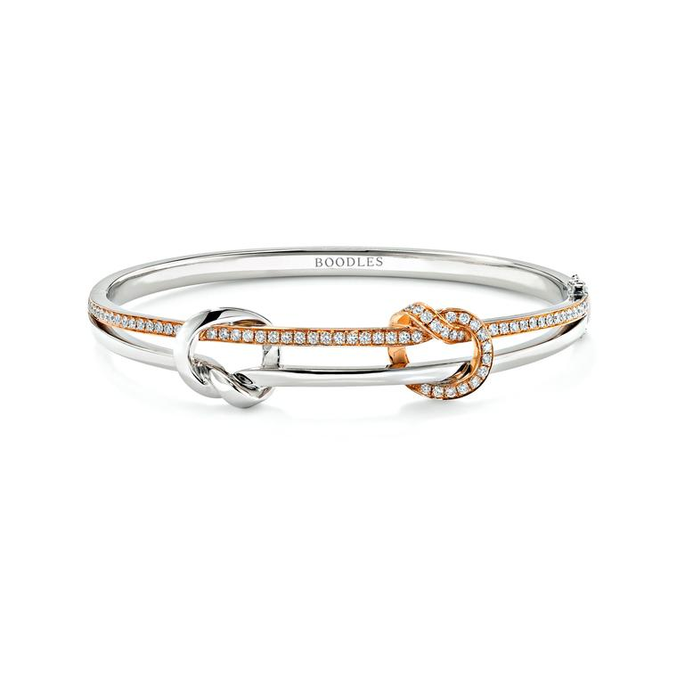 Boodles Knot diamond bracelet in white and rose gold