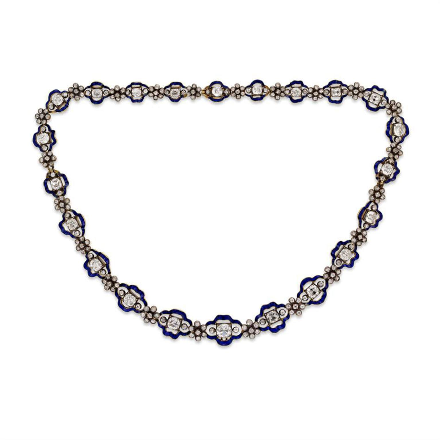 Bentley & Skinner Regency diamond and blue enamel cluster necklace