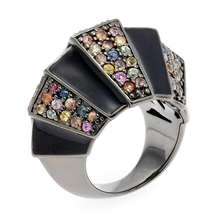 Matthew Campbell Laurenza Primordial silver ring in black enamel with sapphires in black rhodium