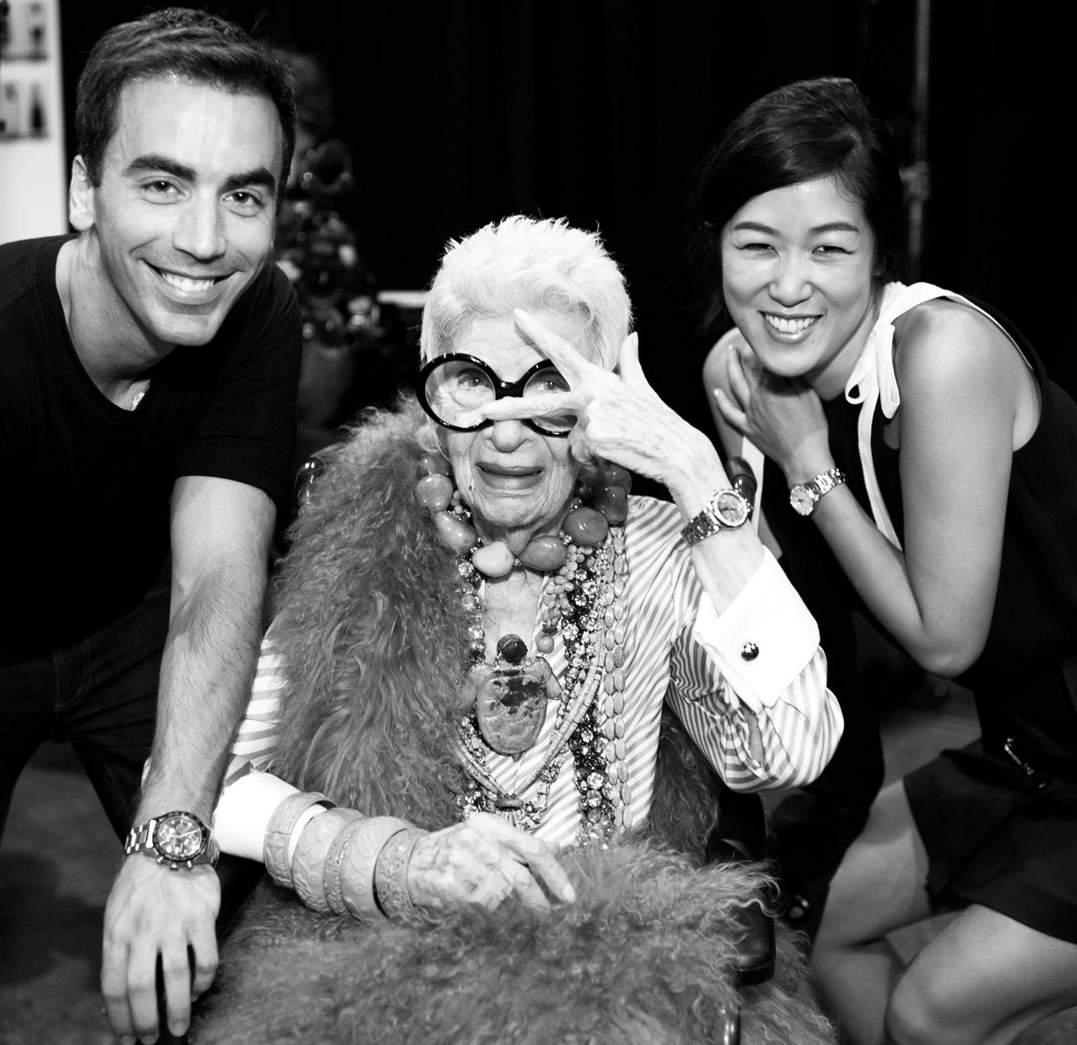 Iris Apfel pictured during NYFW with the designers at Monse