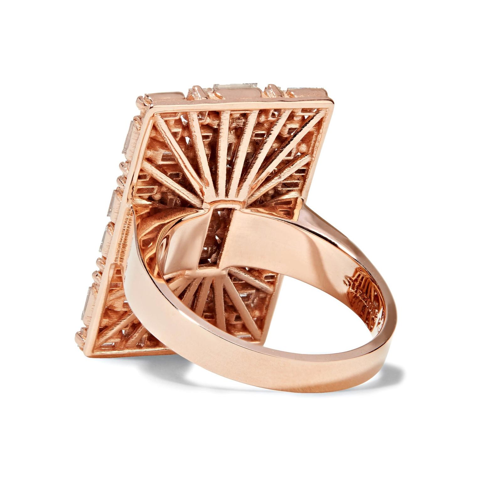 Suzanne Kalan rose gold and diamond ring reverse