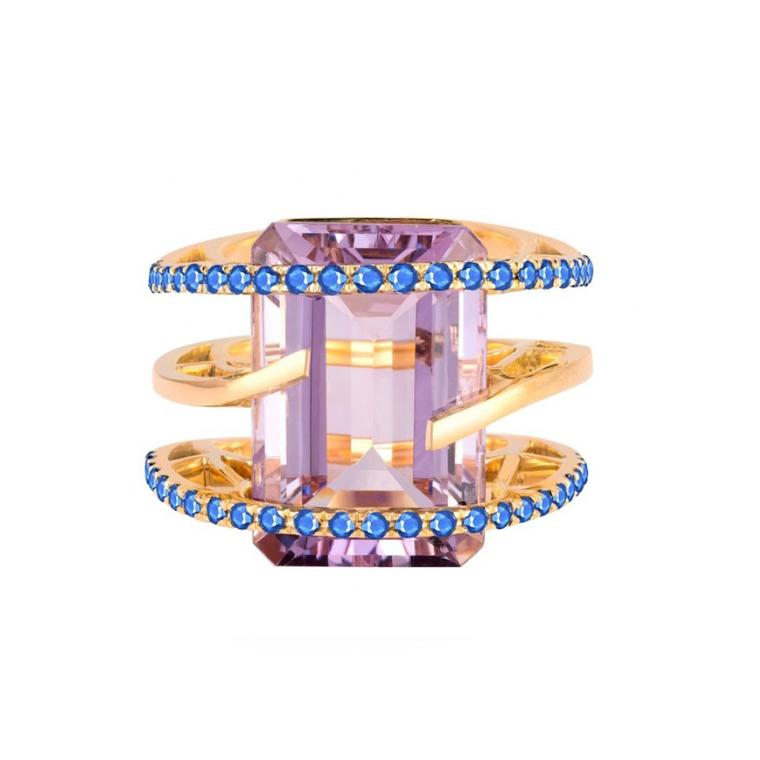 Helena pink amethyst ring with blue sapphires