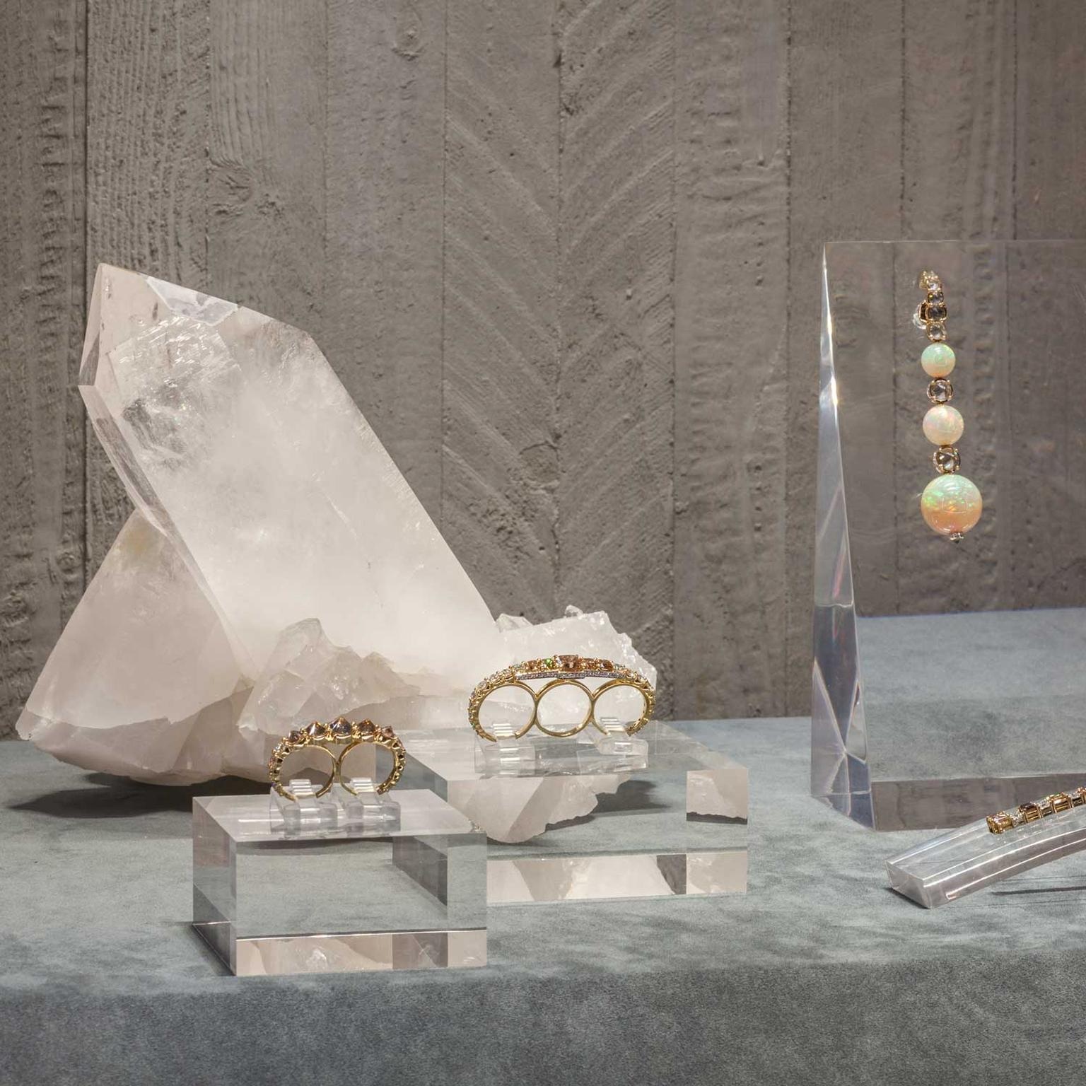 Jewels on display at Ara Vartanian's boutique in London