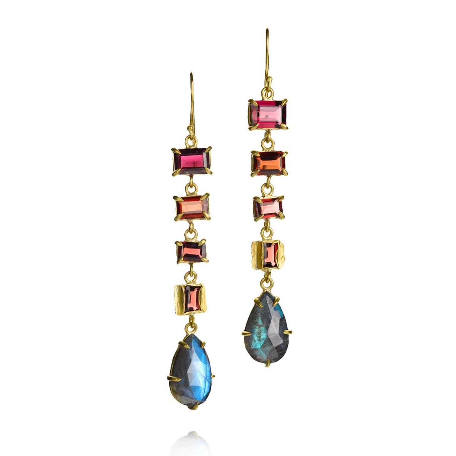 Margery Hirschey labradorite and rhodolite earrings