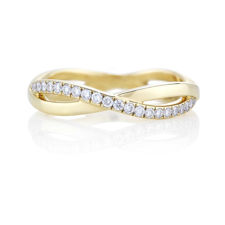 Infinity yellow gold and diamond wedding band