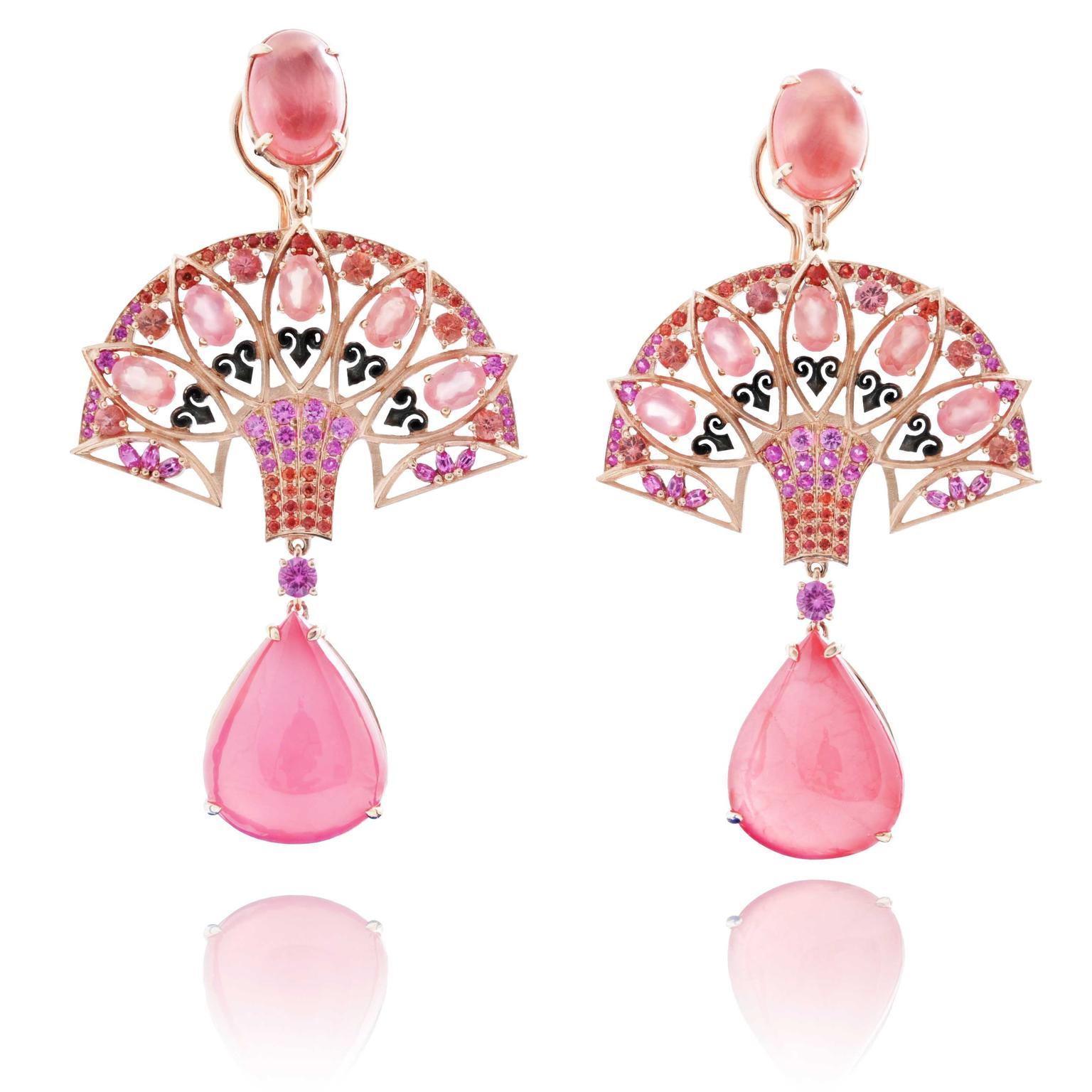Lydia Courteille Rosa del Inca rhodochrosite earrings