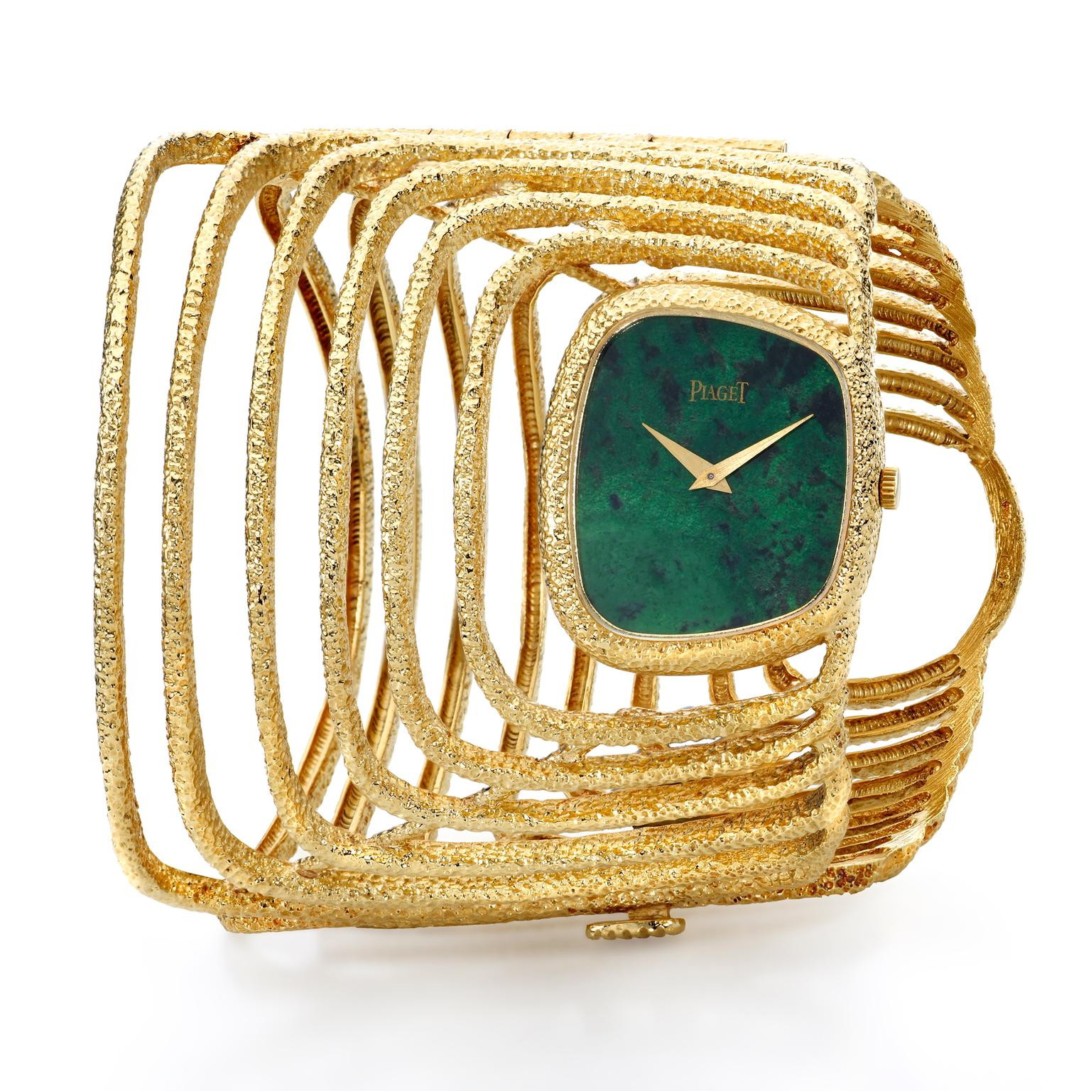 Piaget yellow gold cuff watch with malachite dial 1970