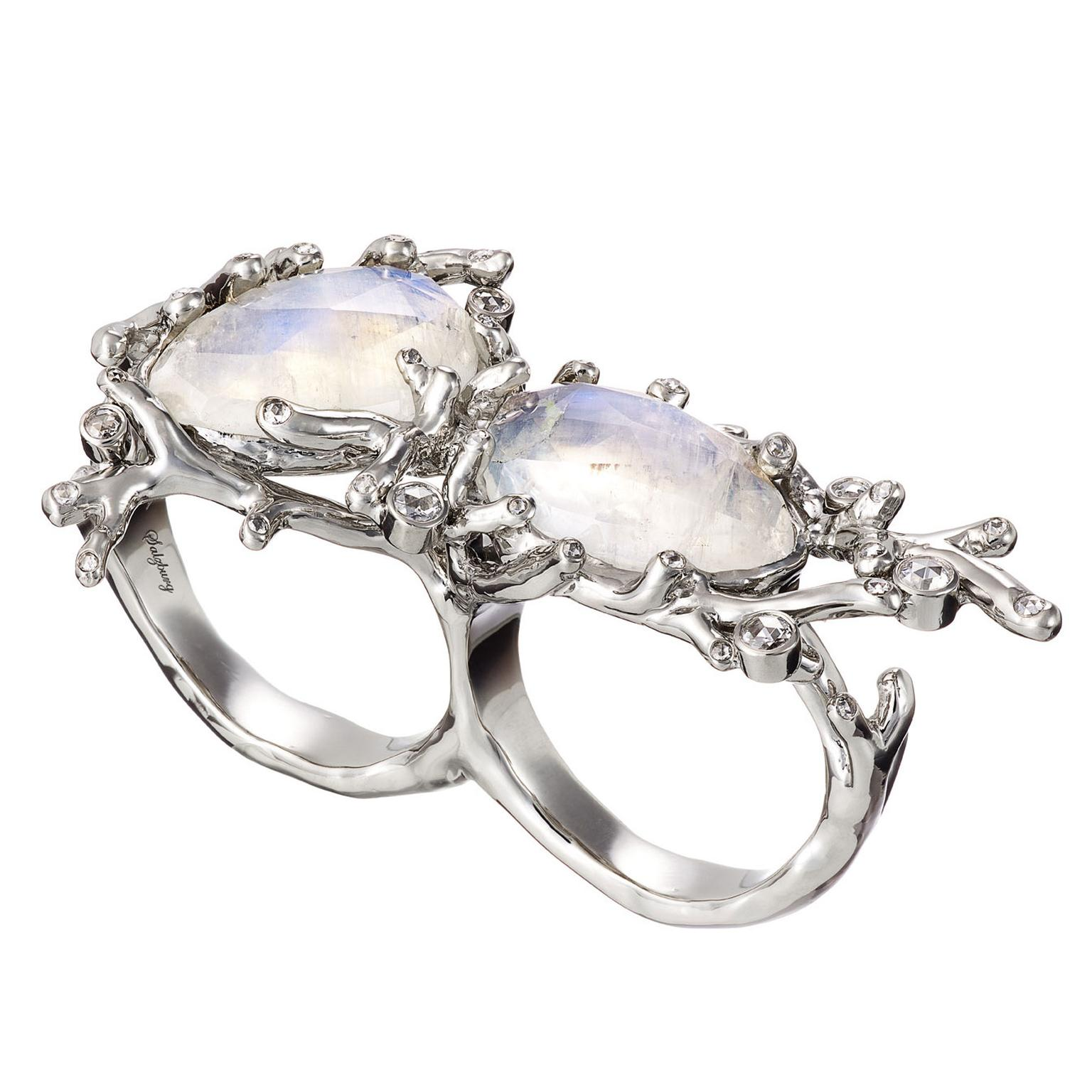 AENEA Alaria rainbow moonstone double ring