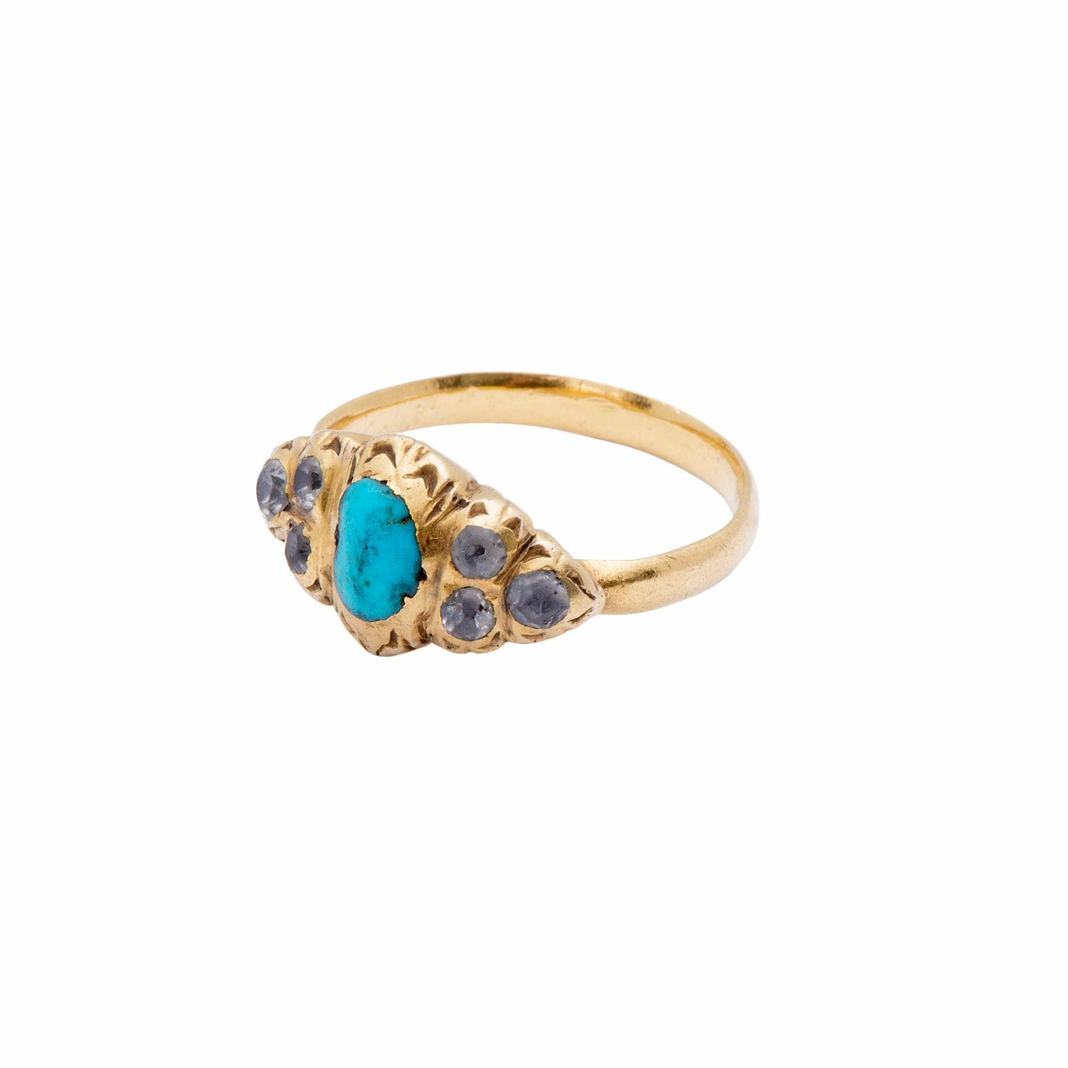 Les Enluminures Renaissance turquoise and rock crystal ring