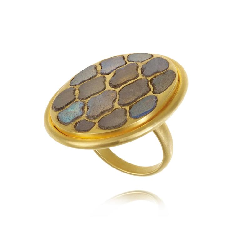 Pippa Small labradorite Lattice ring side view