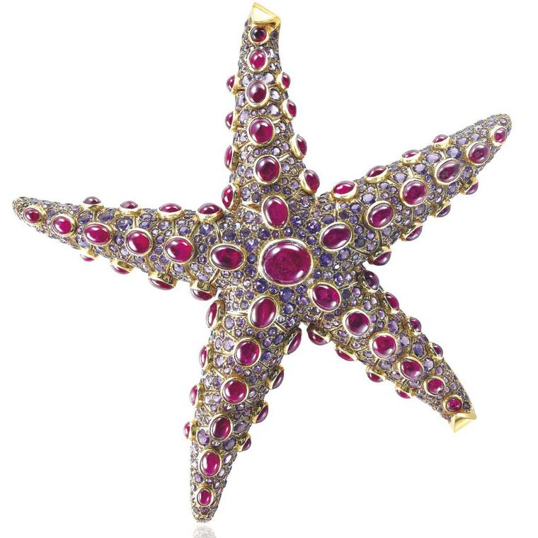 René Boivin ruby and amethyst starfish brooch estimate: $80,000 -  $120,000