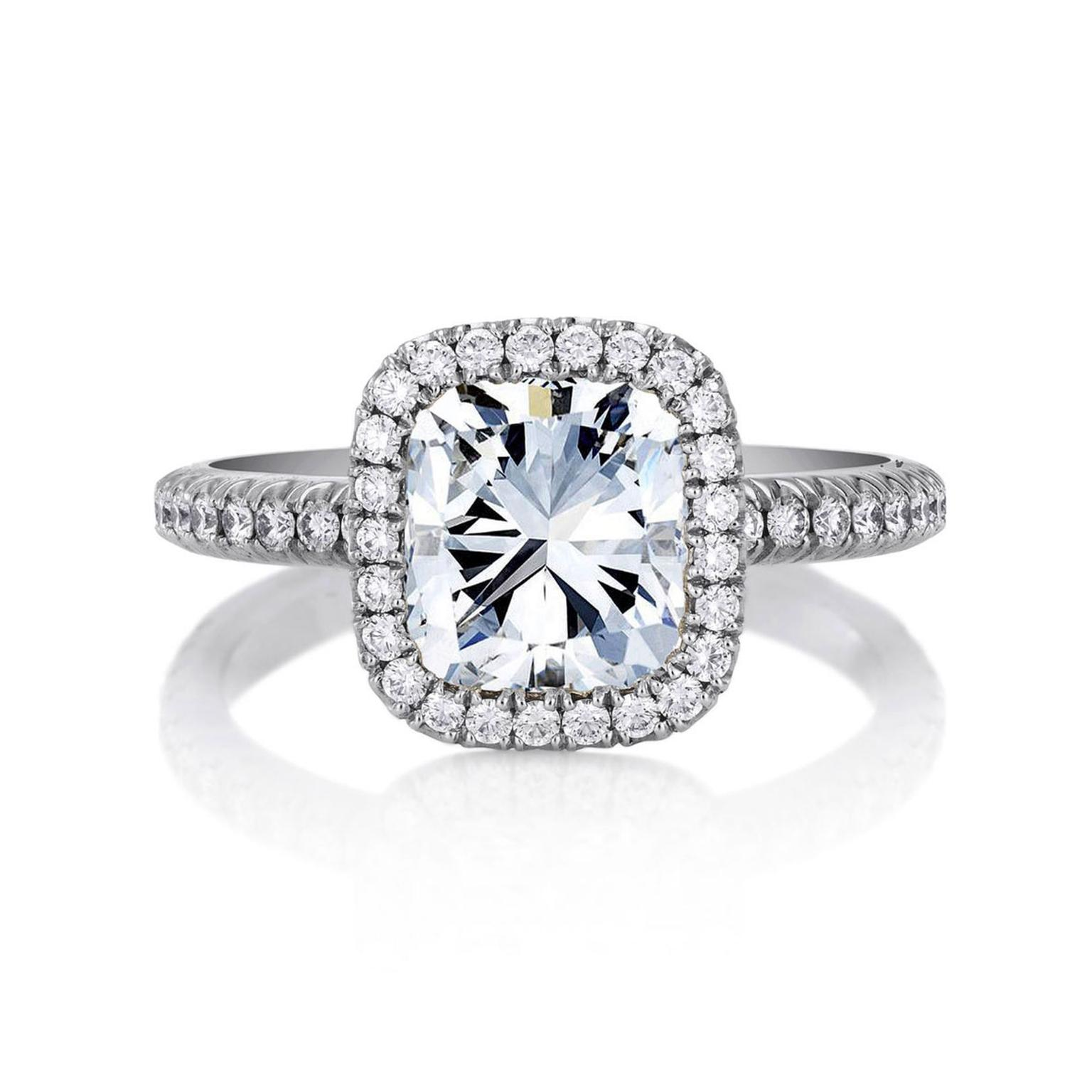 De Beers Aura cushion-cut diamond engagement ring