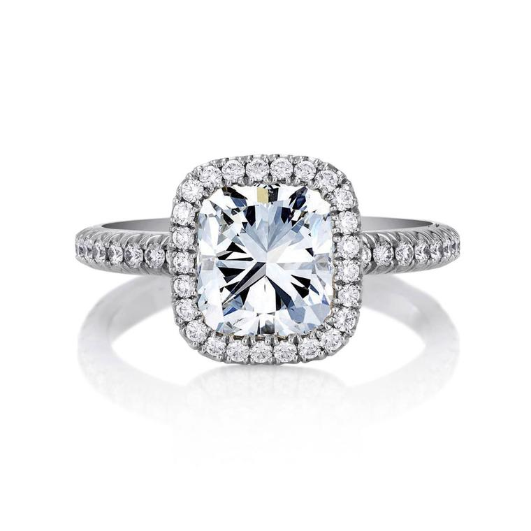 Aura cushion-cut diamond engagement ring