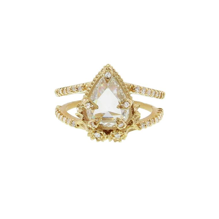 Megan Thorne Pear Diamond Leaf Prong ring