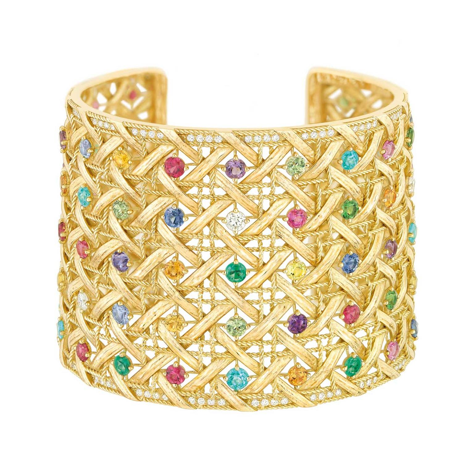 My Dior gold cuff with diamonds and coloured gemstones.