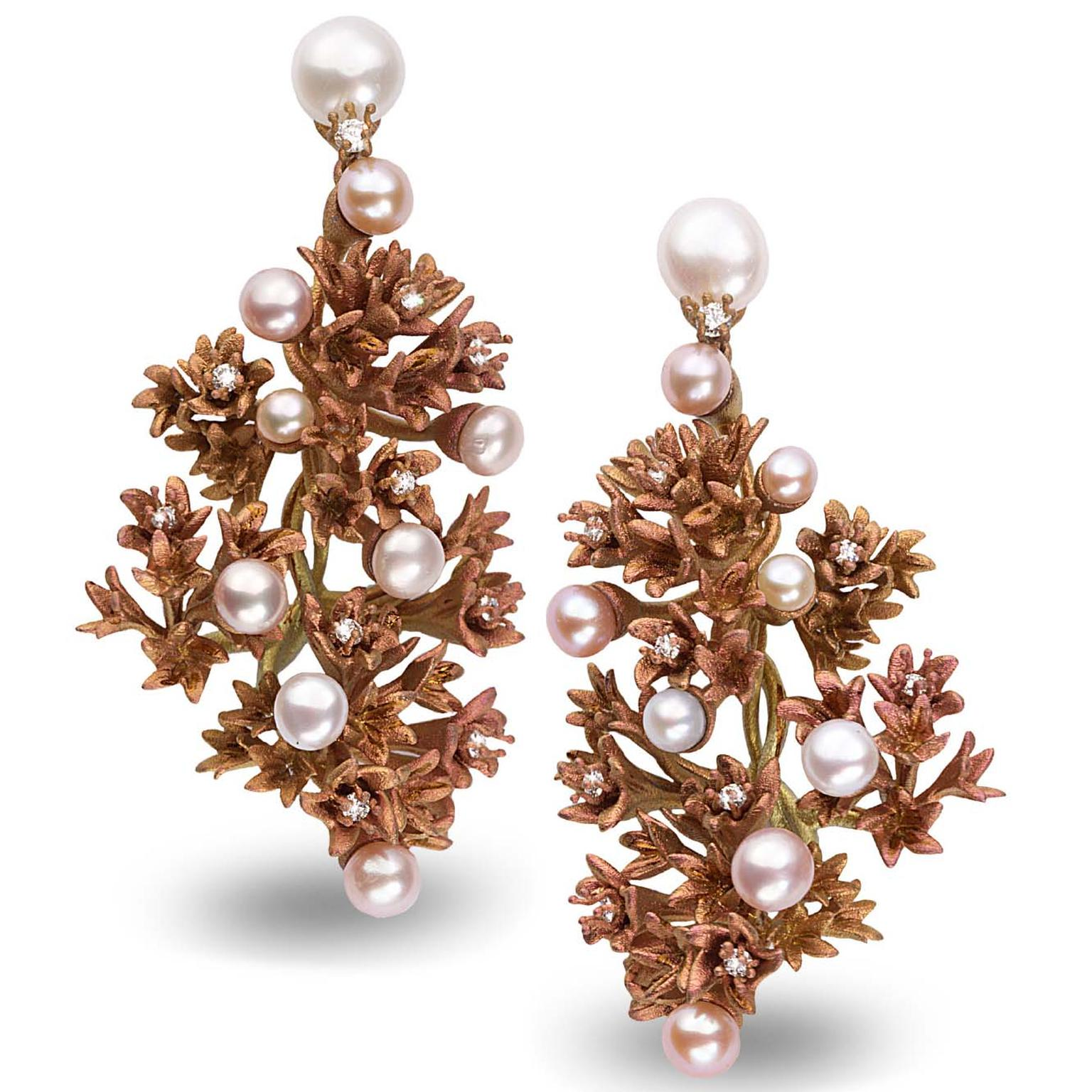 Neha Dani Fiorella titanium and pearl earrings