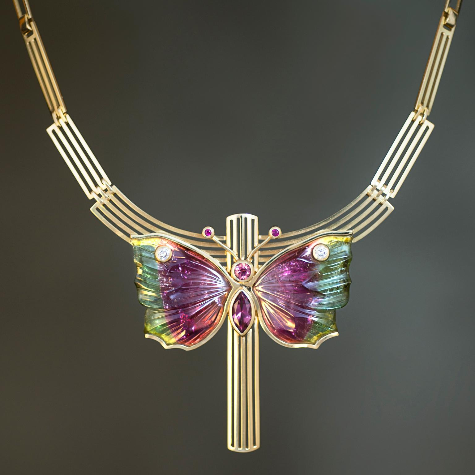 Rudolf Heltzel Butterfly bi-colour tourmaline necklace