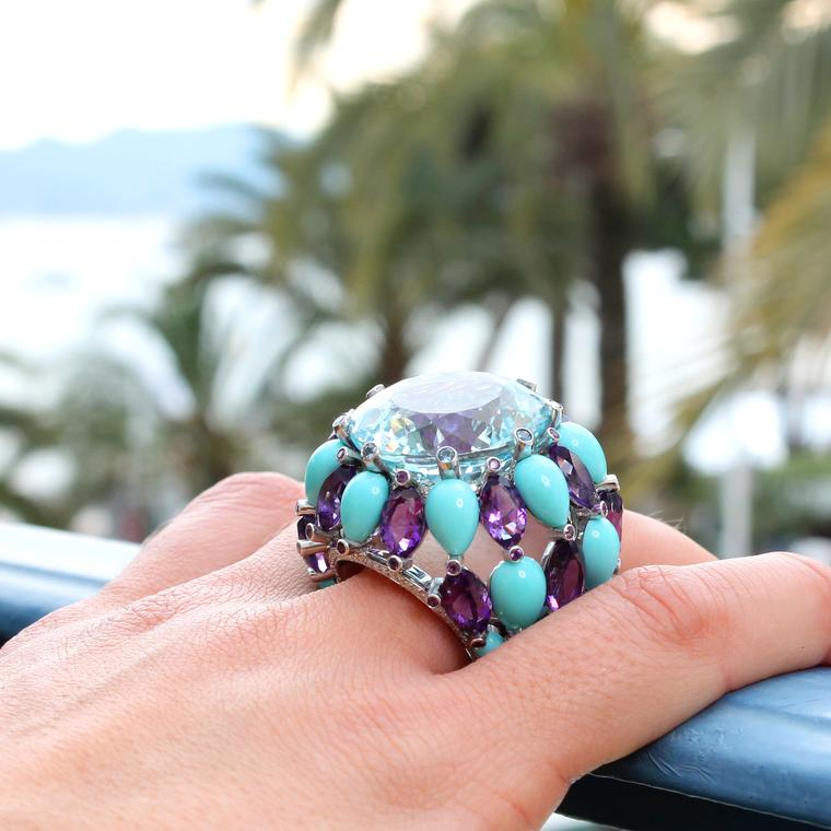 This huge cocktail ring in de GRISOGONO's signature hues from the Swiss jeweller's Melody of Colours collection features drops of faceted amethysts and smooth turquoise cabochons that rain down from the 36-carat aquamarine.