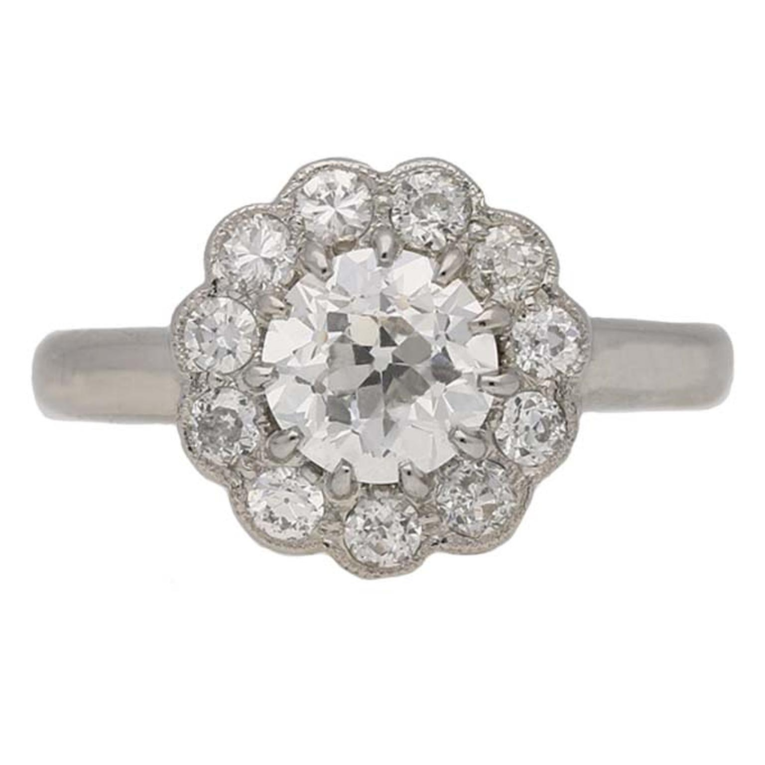 Edwardian diamond coronet cluster ring  V