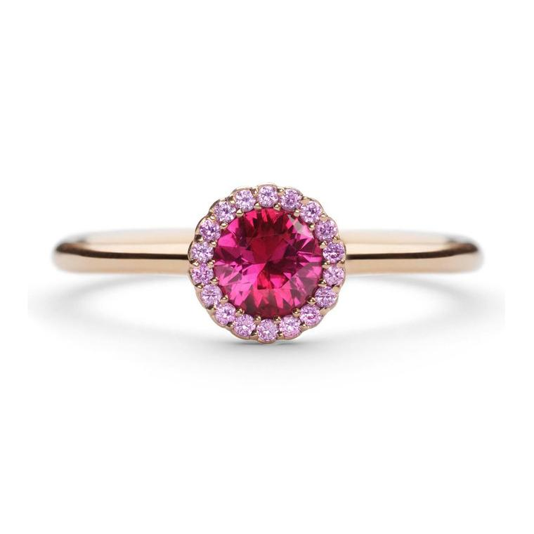 Cannelé ruby and pink sapphire engagement ring