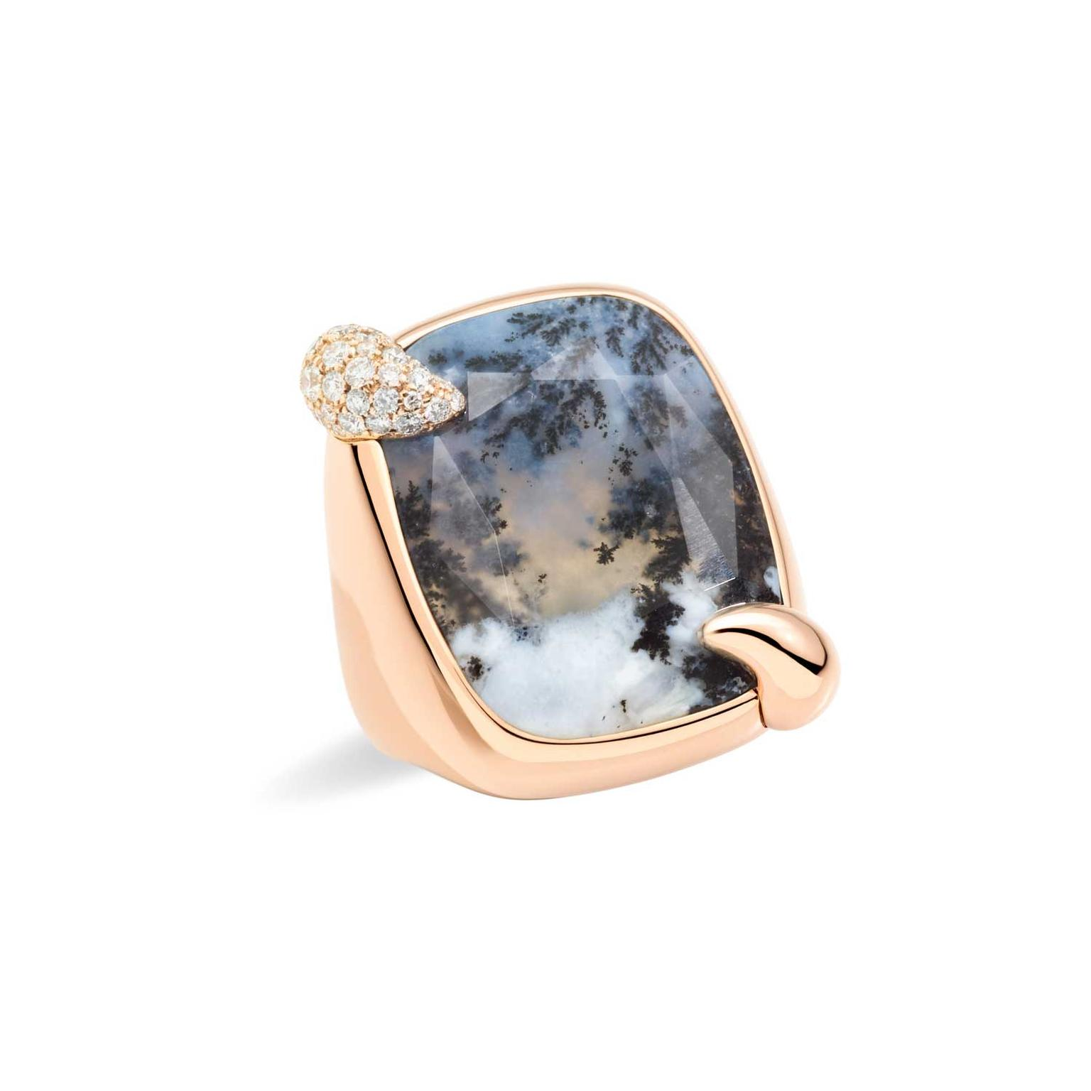 Pomellato Ritratto 50th anniversary Stormy Weather dendritic agate ring