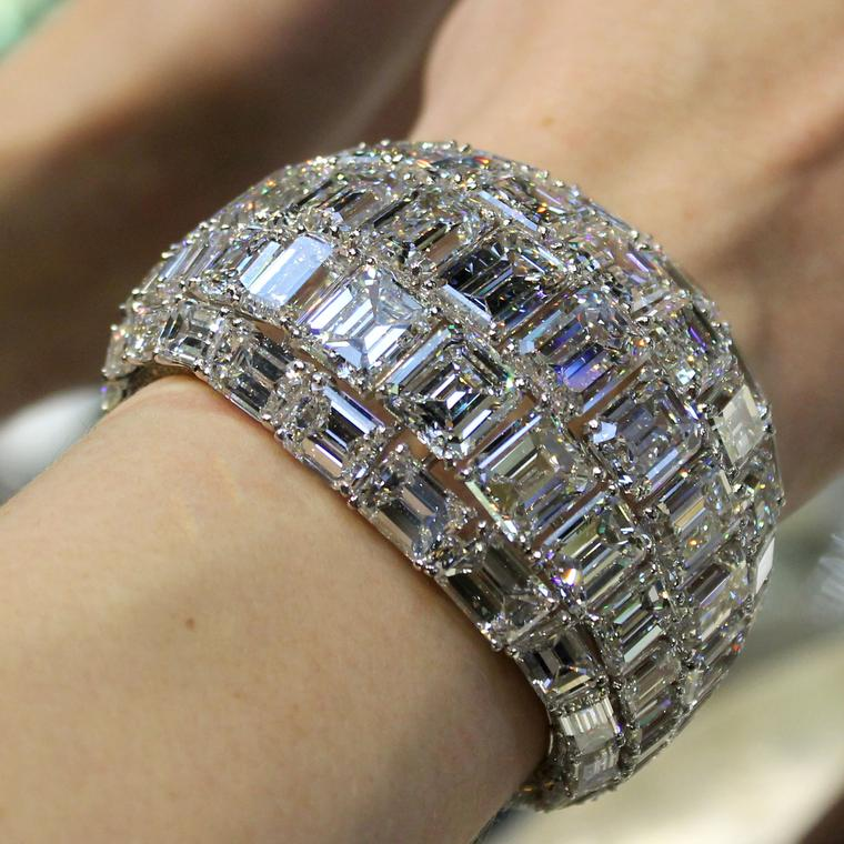 Moussaieff emerald-cut diamond bracelet on model