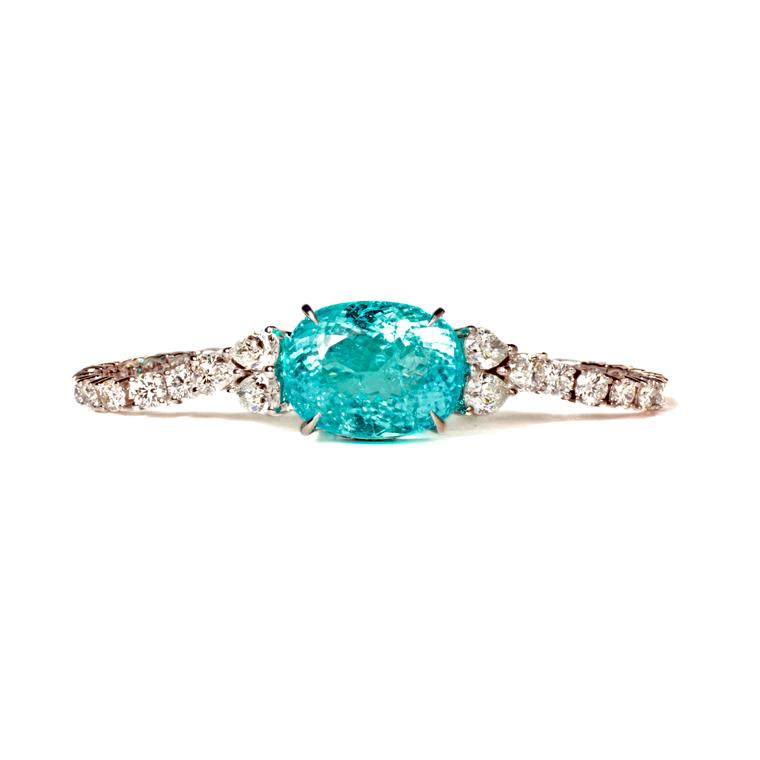 29.55ct Paraiba tourmaline bracelet with diamonds